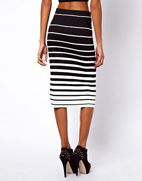 Image 2 ofASOS Ponte Pencil Skirt in Variegated Stripe