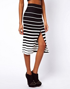 Image 4 ofASOS Ponte Pencil Skirt in Variegated Stripe