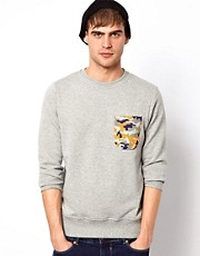 Jack &amp; Jones Sweatshirt With Camo Pocket