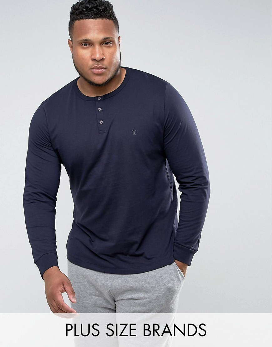 French Connection PLUS Long Sleeve Henley - Navy