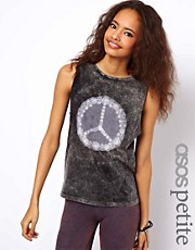 ASOS PETITE Exclusive Vest With Pretty Peace Print