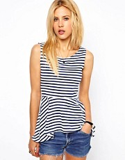 Aime by People Tree Organic Cotton Stripe Peplum Top