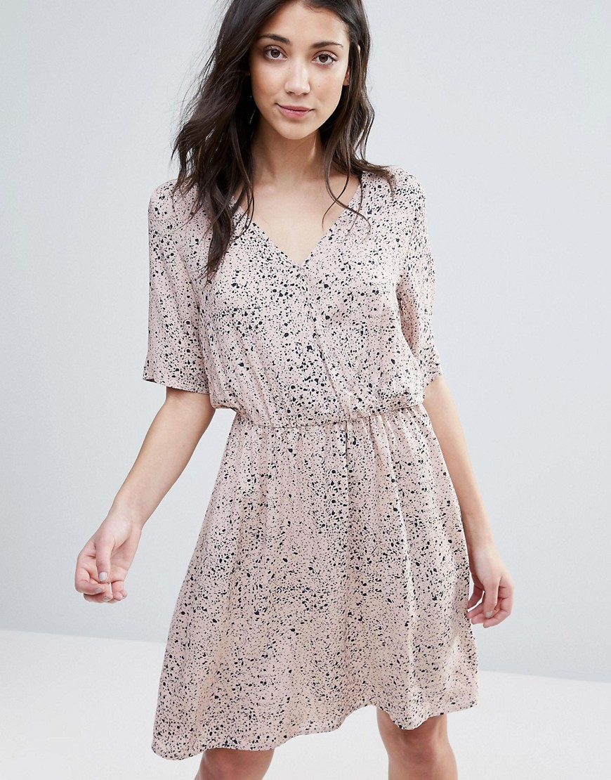 Vila Printed Wrap Over Dress - Pink