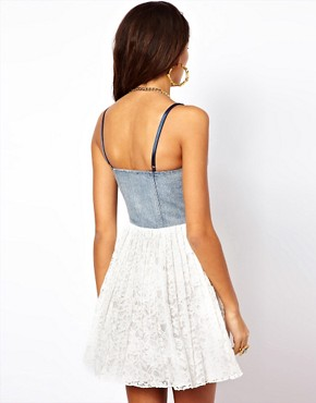 Image 2 ofMotel Finch Dress With Denim Bustier and Lace Skirt