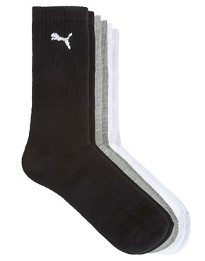 Image 1 ofPuma 3 Pack Mixed Crew Socks