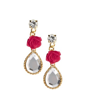 Image 1 ofASOS Rose and Faceted Teardrop Earrings