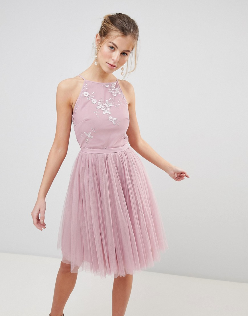 Imagen principal de producto de Vestido skater con falda de tul de Little Mistress - Little Mistress