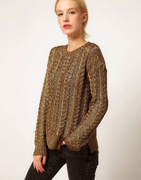 Image 1 ofASOS Premium Cable Jumper In Metallic Yarn