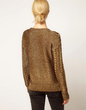 Image 2 ofASOS Premium Cable Jumper In Metallic Yarn