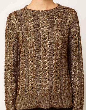 Image 3 ofASOS Premium Cable Jumper In Metallic Yarn