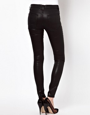 Image 2 ofASOS PETITE Wet Look Black Skinny Jeans