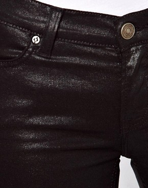 Image 3 ofASOS PETITE Wet Look Black Skinny Jeans