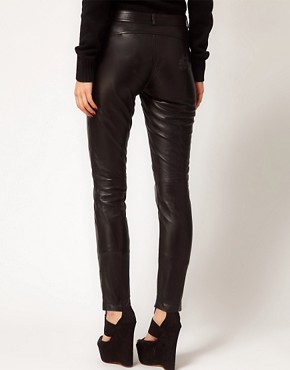 Image 2 ofASOS PETITE Exclusive Black Leather Trousers