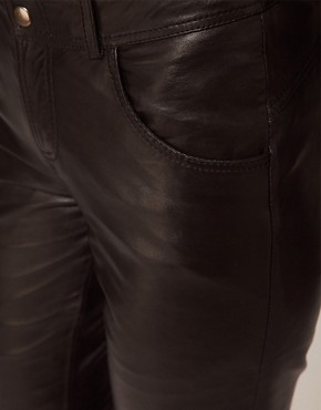 Image 3 ofASOS PETITE Exclusive Black Leather Trousers
