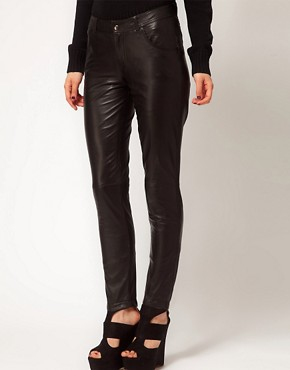 Image 4 ofASOS PETITE Exclusive Black Leather Trousers
