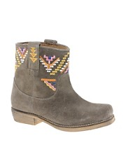Park Lane Suede Embroidered Flat Boots