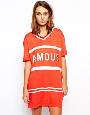 Zoe Karssen Oversized Sporty T-Shirt Dress With Amour Print