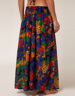 Image 2 ofFrench Connection Maxi Beach Skirt With Tropical Print