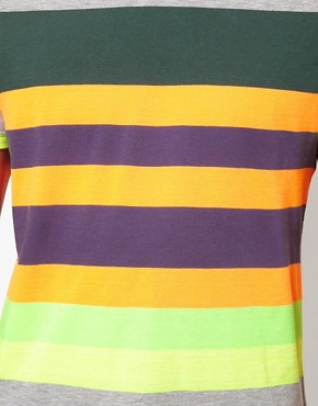 Image 3 of ASOS Stripe T-Shirt With Fluro Yarn