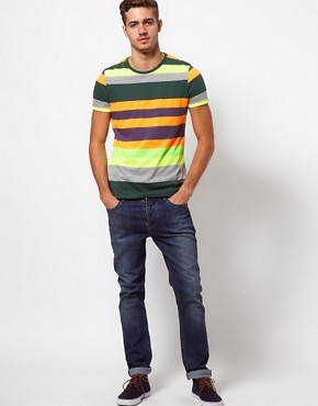 Image 4 of ASOS Stripe T-Shirt With Fluro Yarn