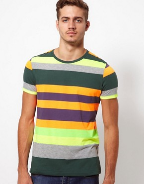 Image 1 of ASOS Stripe T-Shirt With Fluro Yarn