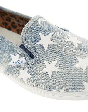 Image 2 ofVans Slip On Lo Pro Denim Stars Plimsolls