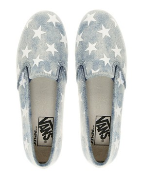 Image 3 ofVans Slip On Lo Pro Denim Stars Plimsolls