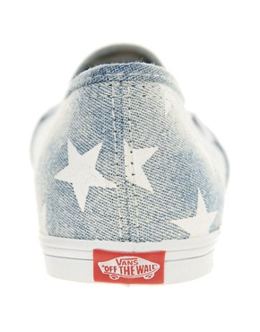 Image 4 ofVans Slip On Lo Pro Denim Stars Plimsolls