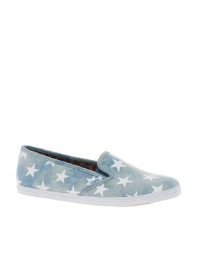 Image 1 ofVans Slip On Lo Pro Denim Stars Plimsolls