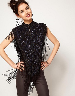 Image 1 ofASOS Sleeveless Jacket With Allover Embellishment And Beaded Fringing