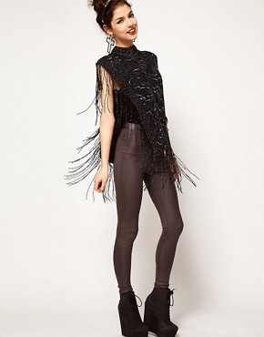 Image 4 ofASOS Sleeveless Jacket With Allover Embellishment And Beaded Fringing