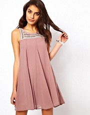 TFNC Swing Dress With Embellished Bib