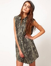 Diesel Shirt Dress With Snake Print