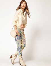 Current/Elliot Patchwork Stiletto Skinny Jeans