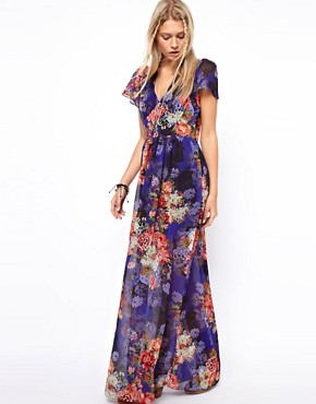 Image 4 of ASOS Maxi Dress In Vintage Floral Print With 70's Sleeve