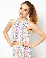 Minkpink Tomorrow Land Crop Top with Rainbow Mesh