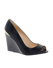 Dune Covert Peep Toe Patent Wedges