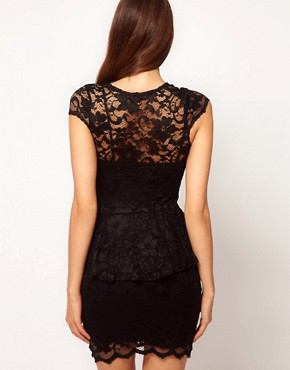 Image 2 ofASOS PETITE Exclusive Lace Peplum Dress