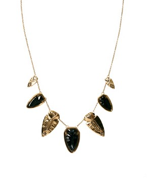 Image 1 ofHouse Of Harlow 1960 Gold And Blackened  Arrowhead Pave Necklace