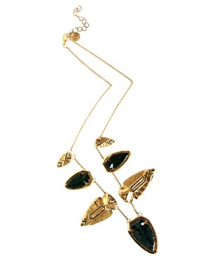 Image 2 ofHouse Of Harlow 1960 Gold And Blackened  Arrowhead Pave Necklace