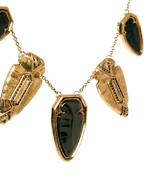 Image 4 ofHouse Of Harlow 1960 Gold And Blackened  Arrowhead Pave Necklace