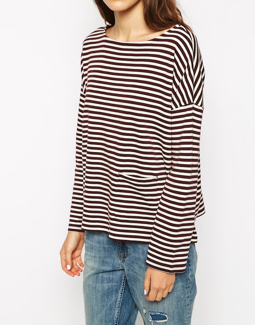 Image 3 of People Tree Organic Cotton Stripe Top With Pocket Detail