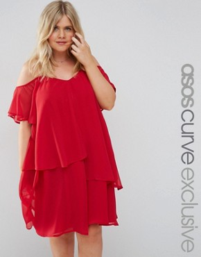 ASOS CURVE Swing Dress with Soft Layers