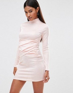 Club L High Neck Bodycon Dress With Wrap Front Detail