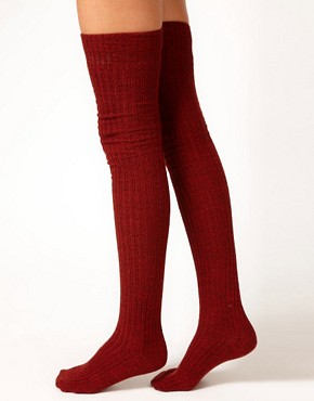 Image 4 ofASOS Multi Yarn Rib Over The Knee Sock