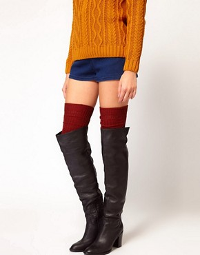 Image 1 ofASOS Multi Yarn Rib Over The Knee Sock