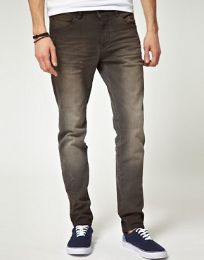 Image 1 ofASOS Washed Black Skinny Jeans