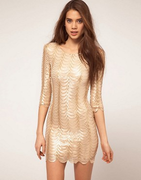Image 1 ofTFNC Dress In Scalloped Sequin