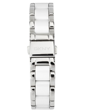 Image 2 ofDKNY Silver And White Ceramic Bracelet Watch