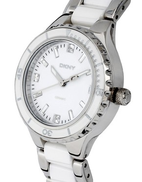Image 4 ofDKNY Silver And White Ceramic Bracelet Watch
